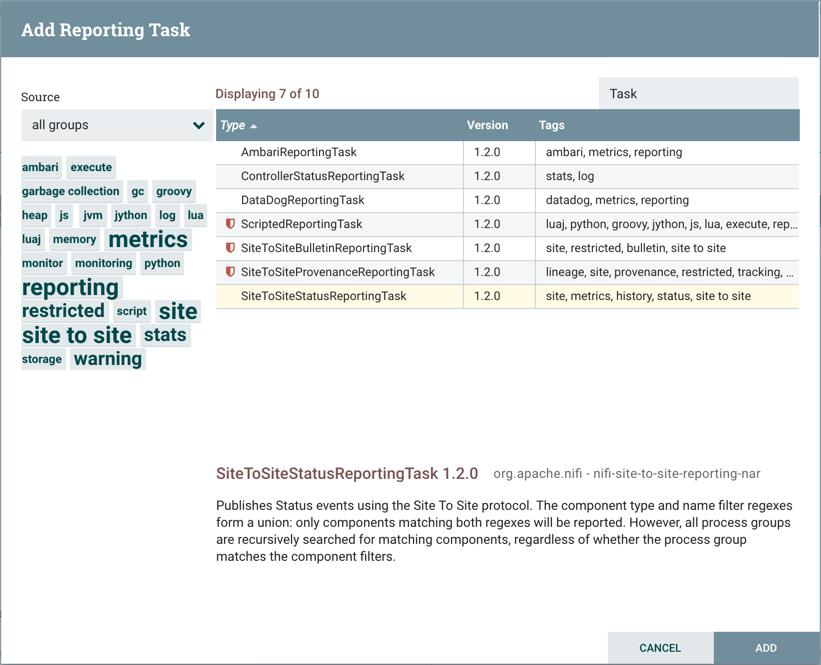 Add Reporting Task Window