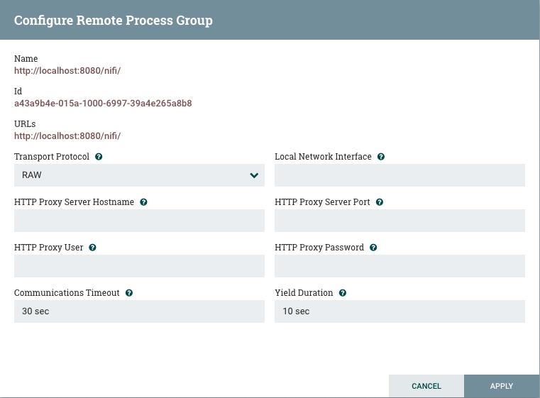 Configure Remote Process Group