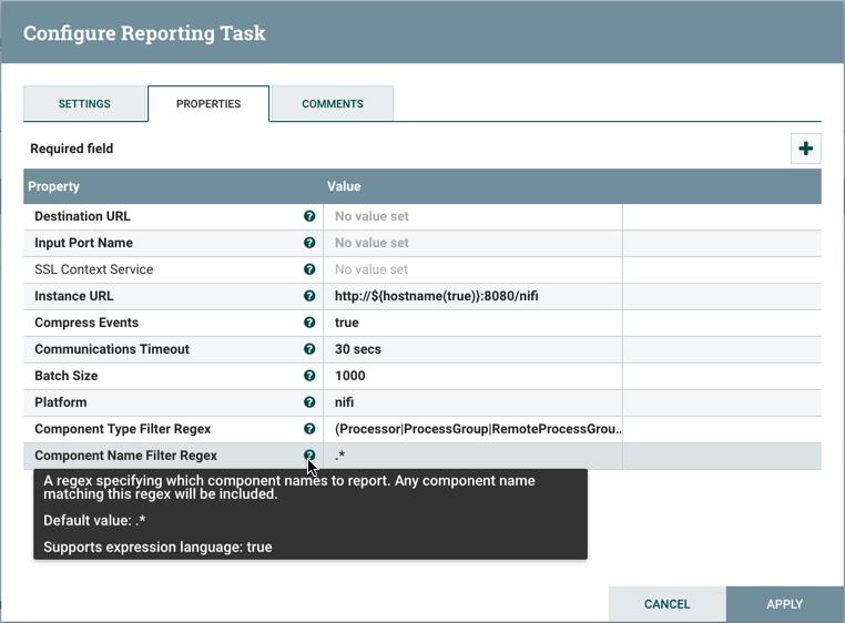Configure Reporting Task Properties