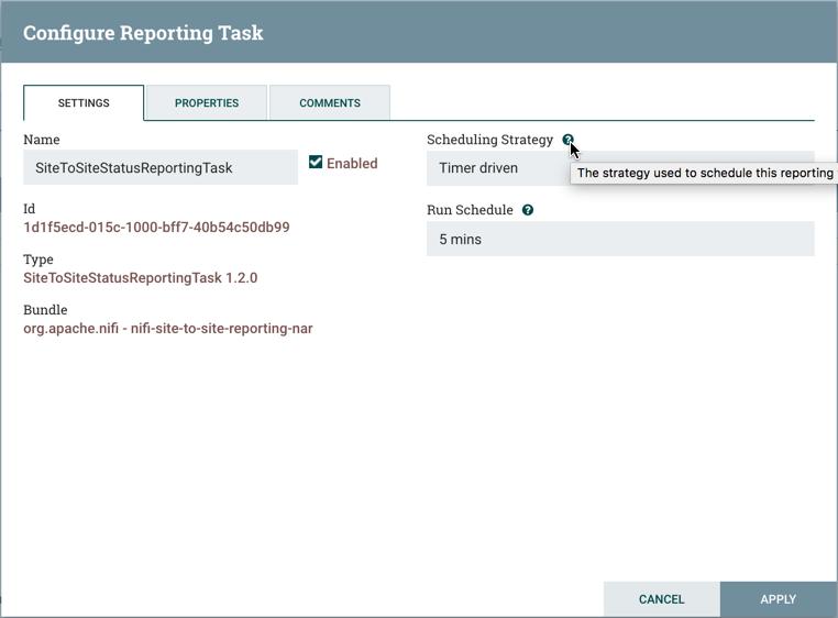 Configure Reporting Task Settings