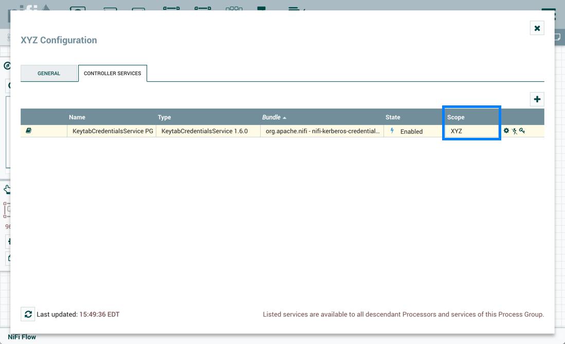 KeytabCredentialsService Controller Service PG Level